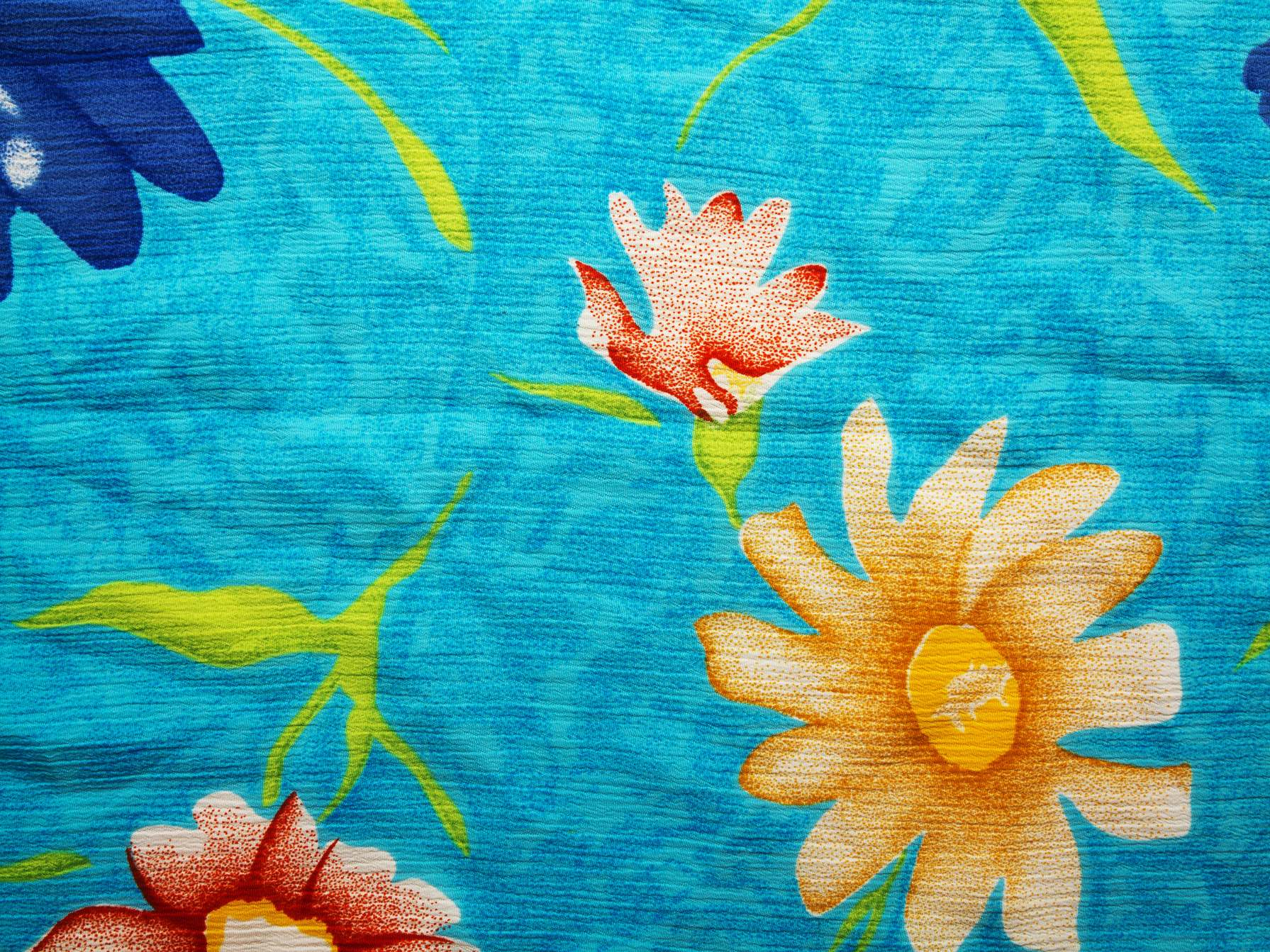 Floral Vintage Blue Fabric Background