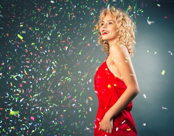 Blonde Model Happiness Curly Hair On Gray Background Confetti