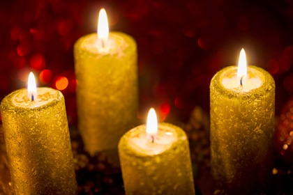 Christmas Candle Lights Red Background