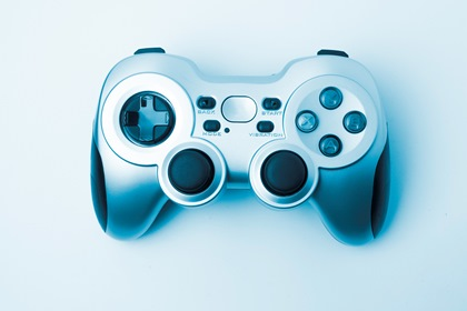 Top View Game Controller Gamepad On White Background