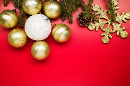 Golden Snowballs Styled Photo On Red Background