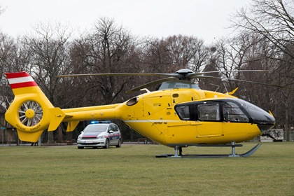 Emergency Rescue Yellow Helicopter And Police Car