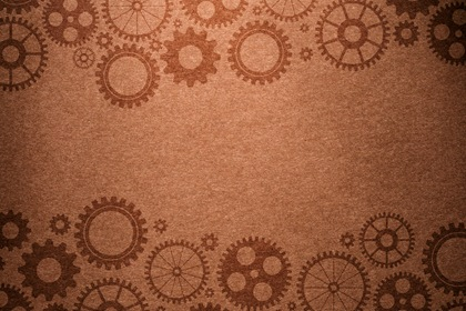 Vintage Brown Background With Gears Border
