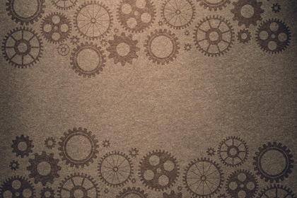 Vintage Paper Background With Steampunk Gears