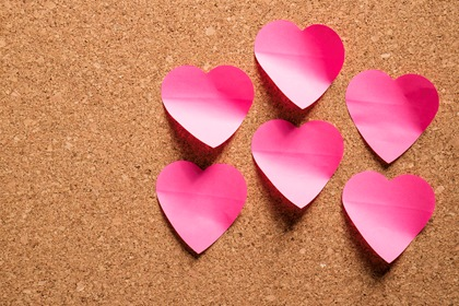 Heart Shaped Paper Notes On Wood Board