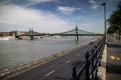 Bridge And Road Along Danube In Budapest