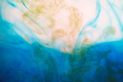Liquid Blue Yellow Color Paint Mix In Water