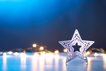 Christmas Lights Background With Star