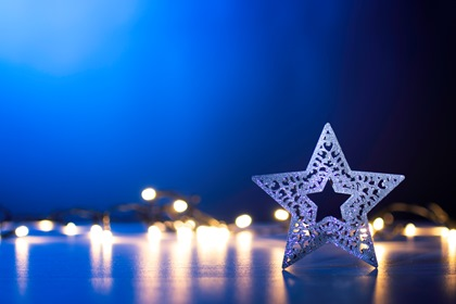 Christmas Lights Blue Background With Star