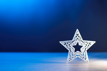 Xmas Star Blue Background