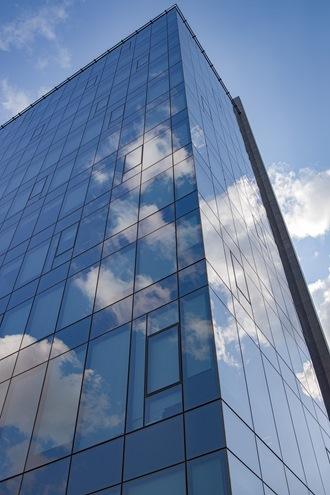 Glass Building Corner Sky Reflection