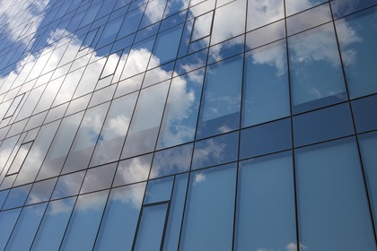 Glass Building Sky Reflection Abstract