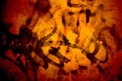 Grungy Red Graffiti Wall Background